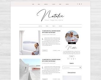 Responsive Blogger Theme, Blogspot Template, Feminine Blogger Template, Blogspot Theme, Blogger Theme - Natalie