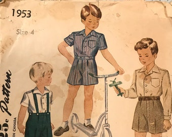 Vintage Simplicity 1953 Sewing Pattern Boy's Shirt and Trousers Size 4 1940s