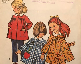 Vintage 1970s Pattern Simplicity 5164 Childs Pants in Two Lengths and Smock Dress Size 4