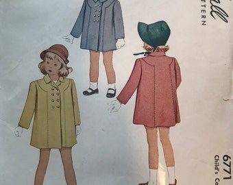 1947 Vintage McCalls Printed Pattern for Childs Coat 6771 Size 4