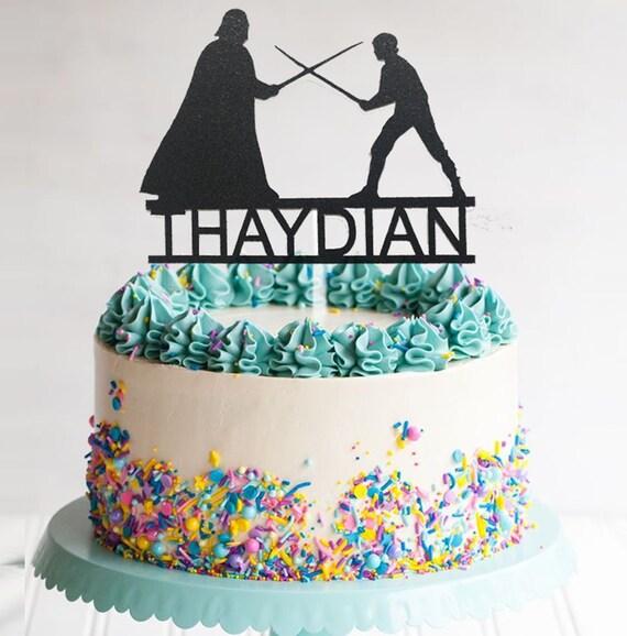 Enjoyable Custom Starwars Birthday Cake Topper Personalized Topper Etsy Personalised Birthday Cards Beptaeletsinfo