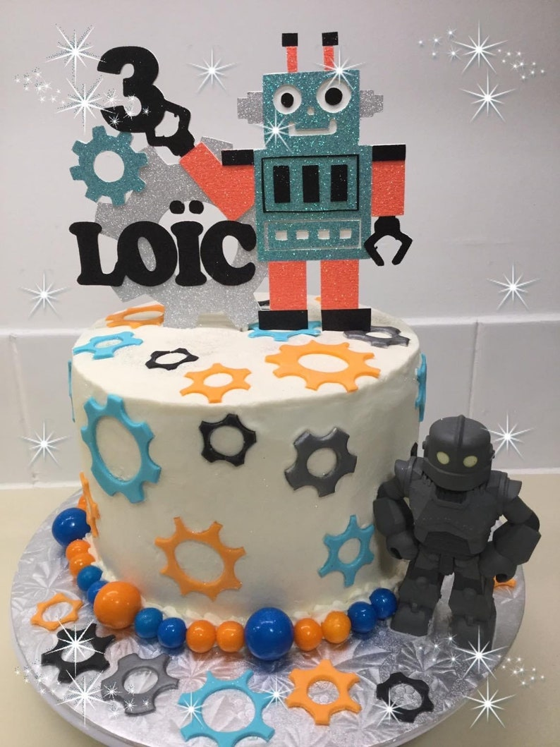 Birthday Cake Topper Robot w Name Birthday Cake Topper Custom Robot Cake Topper