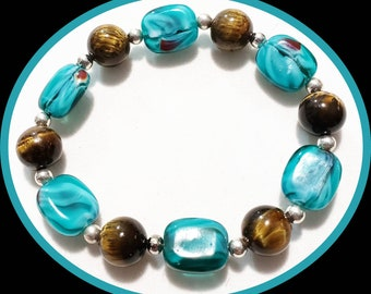 Tigereye and glass beaded bracelet and earrings