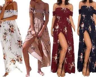 Women's Floral Off the Shoulder Maxi Dress