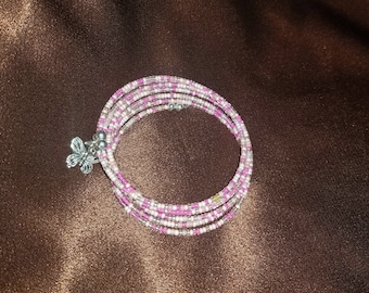 Memory wires style 6 wrap pink bracelet with butterfly charm