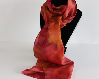 silk scarf, hand dyed, 11 x 60 inches, red/yellow/sienna