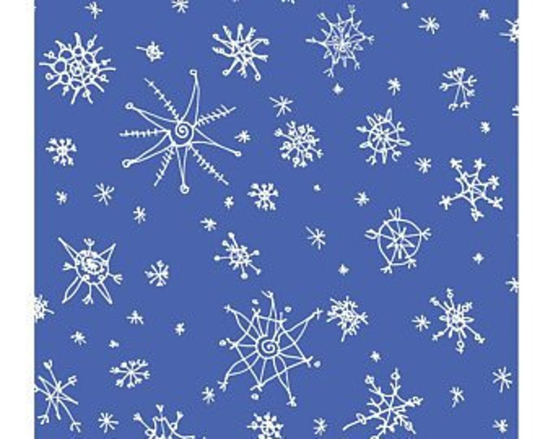Clothworks Winter Love Snowflakes Light Royal Blue Fabric