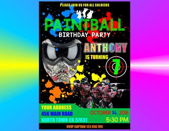 birthday paintball party invitation boys birthday etsy