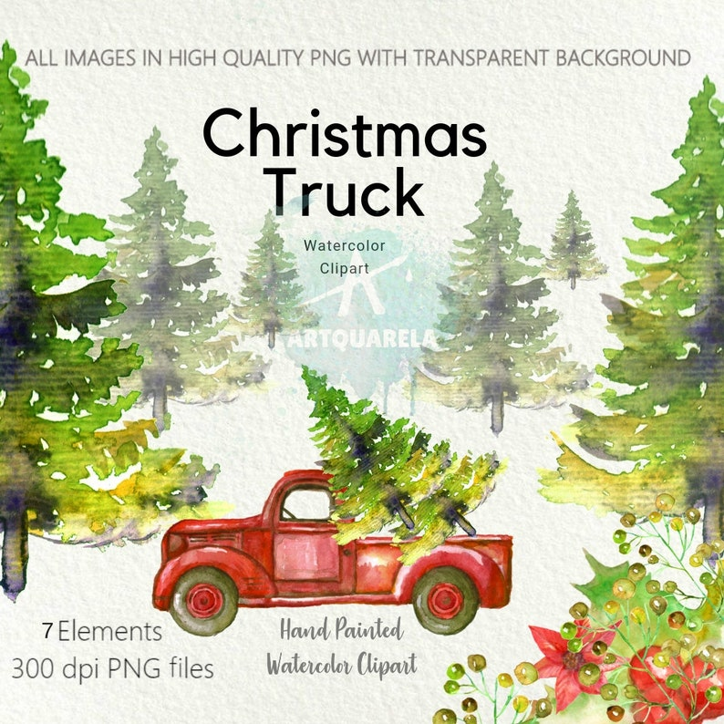 Christmas Invitation Background Png.50 Off Sale Red Truck With Christmas Tree Png Christmas Clipart Watercolortree Vintage Hand Painted Invitation Clipart For Commercial Use