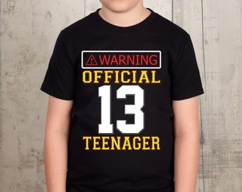 Thirteen Birthday Official Teenager Shirt Year Old Boy 13th Boys Tee Gift Party