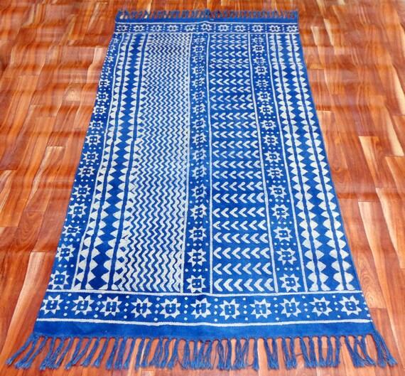5x7.ft Indigo Dari Rug Cotton Blue Runner Handmade Carpet Floor Rug Modern Rug