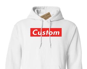 Supreme Inspired Custom Hoodie, CustomizeYour Way! Supreme Box Logo Hoodie, OBEY Propaganda Style Hoodie, Sweatshirt, Youth, Adult, Unisex