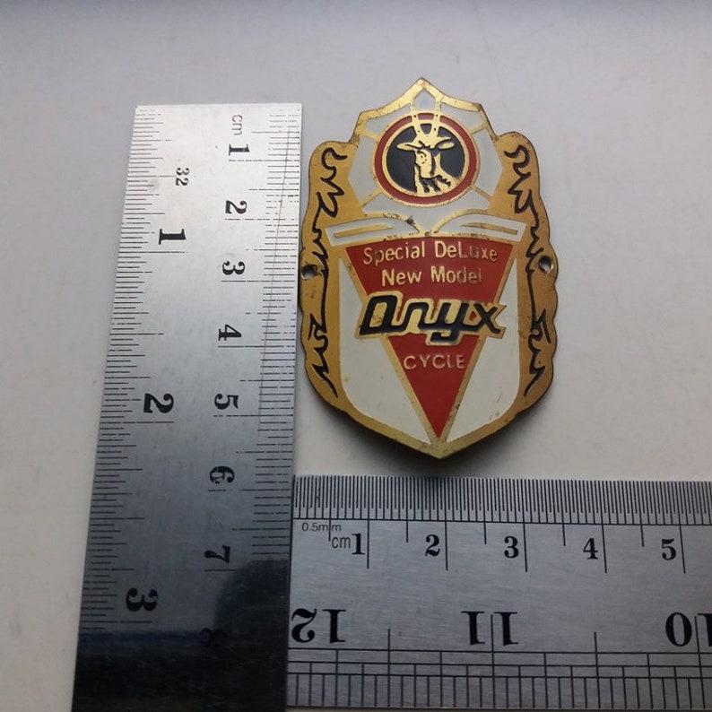 Onyx red Head Badge Emblem Vintage Bicycle Logo NOS Free shipping