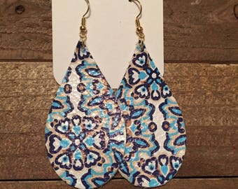 Blue and White Starburst Teardrop Leather Earrings, Genuine Leather, Lightweight Leather, Gifts for her