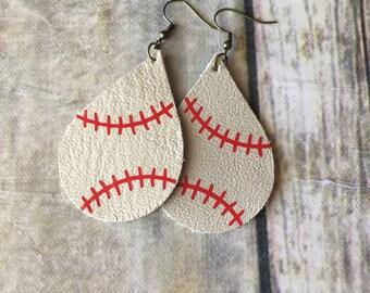 Tan Baseball Teardrop Leather Earrings, Genuine Leather, Lightweight Leather Earrings
