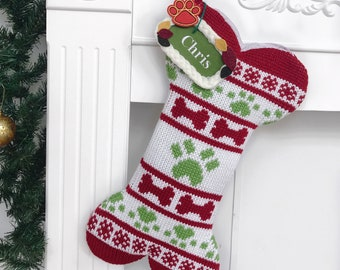 adf6b0709551e Personalized 2018 New Christmas Stocking (Extra large) Knitted Dog Bone  3  Style Christmas Ornament for Family Decorations Holiday Gift 18