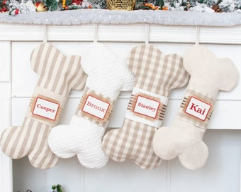 Personalized Christmas Stockings Canvas Dog Bone Stocking with White Stripe Plaid for Holiday Home Decoration Pet Stockings with Name Tag
