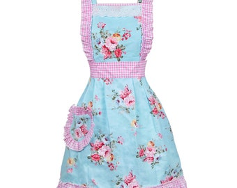 Personalized Aprons for Women with Pockets Vintage Floral Ruffled Apron Cross Back Aprons Housewarming Hostess Gift Kitchen Baking Cooking