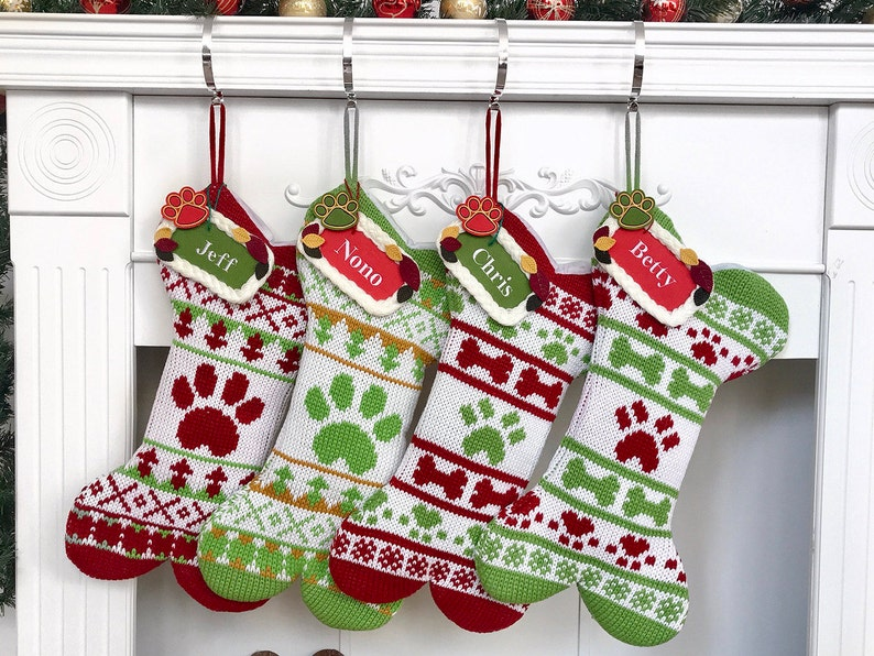57c69d8671fee Big Sale Christmas Stockings personalized Dog Bone Knitted