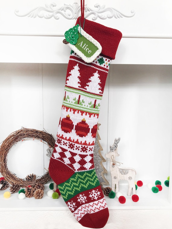 2daaaf4c4aeb9 Personalized 2018 New Christmas Stocking Extra large Knitted