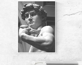 Sculpture Print Sculpture David Renaissance Sculpture Art Print Modern Black and White Print Wall Art Poster Michelangelo Art Home Decor