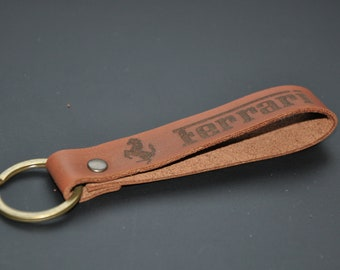 Ferrari keychain keyring leather. Personalised keychain. 95e274975f
