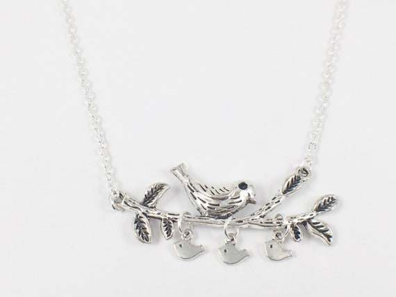 """Love Birds on a Branch Silver Charm Stainless Steel 18/"""" Chain Necklace"""