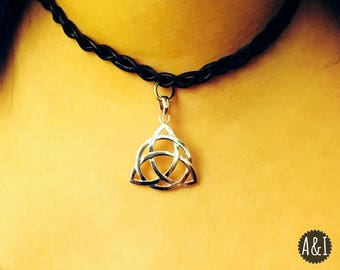 Leather Braided Choker with Triquetra (Celtic Knot) Pendant