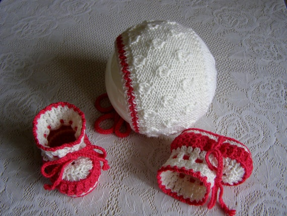Hand Knitted Baby Bonnet 3-6 Months White