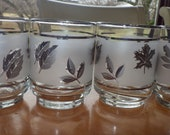 Libbey Silver Leaf Juice glasses 4 6 ounce mid century glasses frosted silver