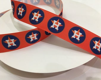 Houston Astros Ribbons Baseball Sports Grosgrain 1 Inch Ribbon By The Yard