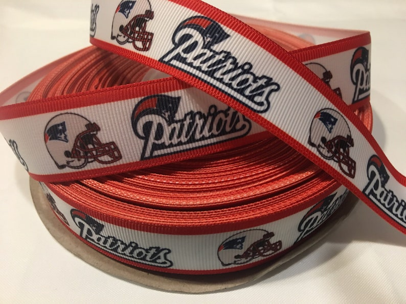"NEW ENGLAND PATRIOTS 7//8/"" GROSGRAIN RIBBON 1,3,5,10 YARDS FOOTBALL SHIP FROM USA"