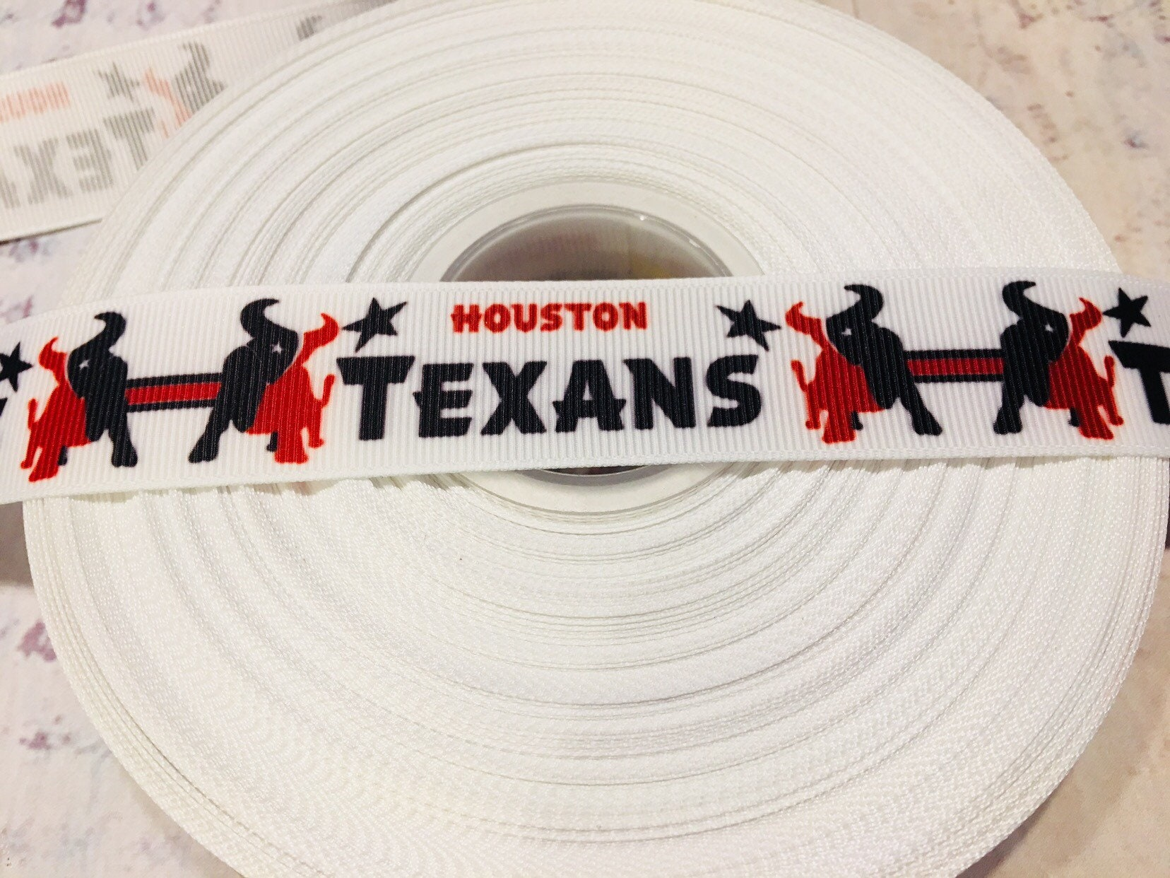 7//8 inch Houston Texans Grosgrain Ribbon-1 Yard