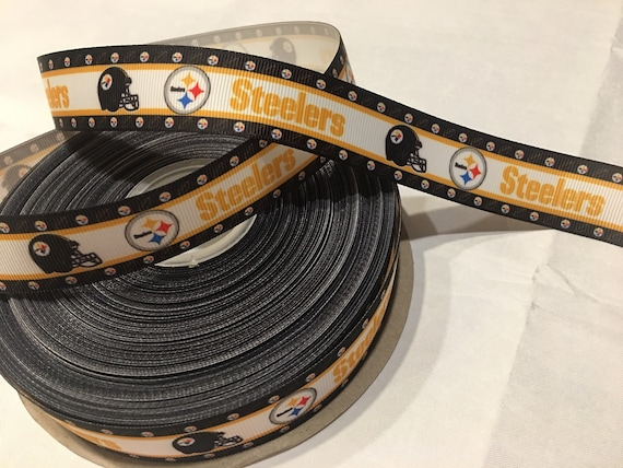 "Steelers 1.5/""  grosgrain ribbon the listing is for 5 yards total"