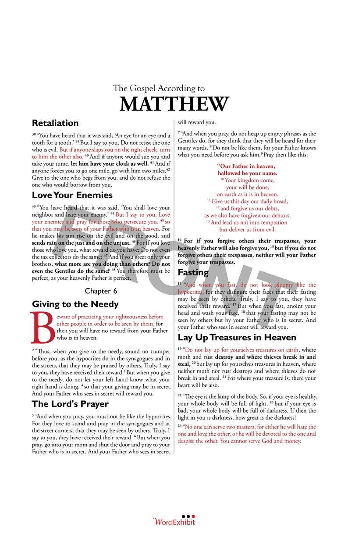 Matthew 6 - The Lord's Prayer (Sermon on the Mount part 2): Beautiful  scripture layout! 11x14 ESV