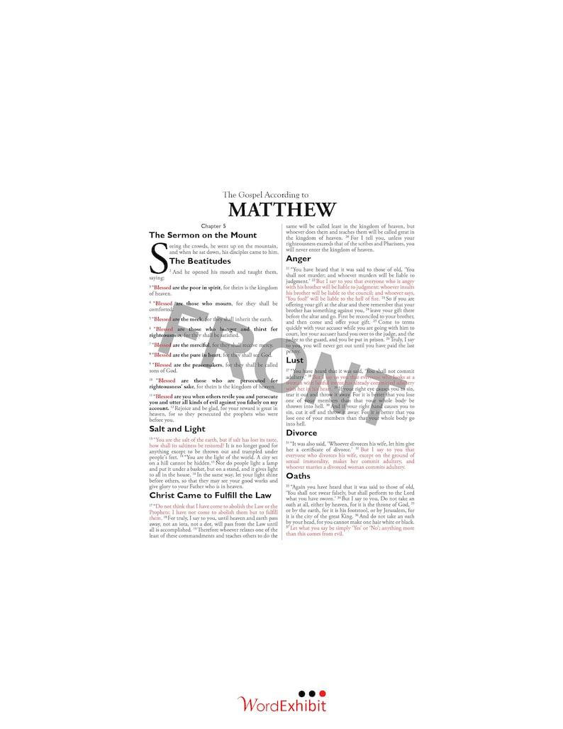 Matthew 5 - The Sermon on the Mount: Beautiful scripture layout! 5x7 ESV