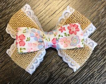 Burlap flower bow