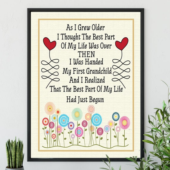Poster First Grandchild Ready To Frame Grandparent Gift | Etsy