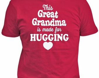 This Great Grandma Is Made For Hugging, Gift For Great Grandma, Plus Sizes, Small To 5X - Red Shirt, ID:4
