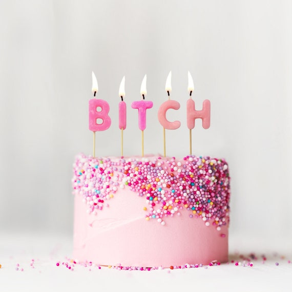 Pink Bitch Birthday Candles Adult Funny Rude