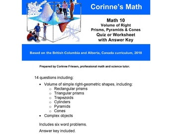 Math 10 Surface Area Of Right Prisms Pyramids Cones Etsy