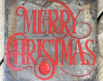 Merry Christmas Sign Hand Painted On Antique Slate Tile