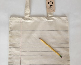 Lined Notebook Paper Tote Bag