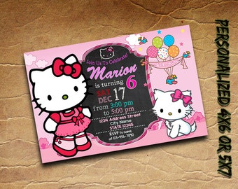 Hello Kitty ITS A PARTY Birthday Invitations Post Card Thank You Set Xmas