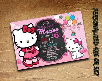 hello kitty invitation personalized printablehello kitty birthday invitationhello kitty invite custom card