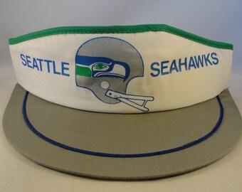 05b30086f Seattle Seahawks NFL Vintage Snapback Visor Hat White Gray