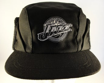d6f57ef7 Utah Jazz NBA Vintage Winter Earflap Hat Cap One Size Fits Most Black