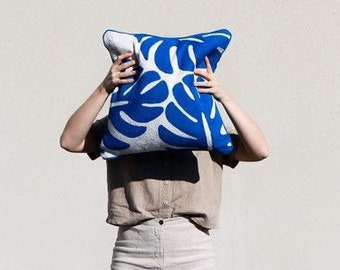 Monstera Hand Embroidered Throw Pillow in Lapis Blue