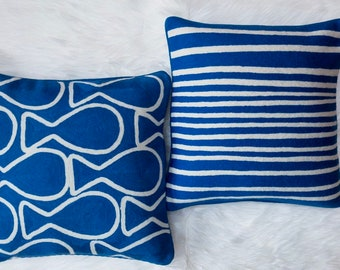 Stripes Hand Embroidered Throw Pillow in Lapis Blue