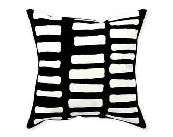 Row Black And White Outdoor Pillow